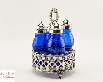 Vintage Castor Set | Cobalt Blue Glass Victorian Style Condiment Caddy