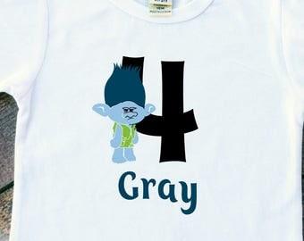 Boys birthday bodysuit tshirt Trolls Branch personalized number 1-5