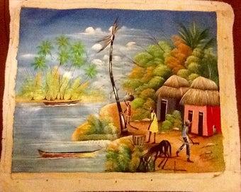 "Haitian Art ""Two Huts"""