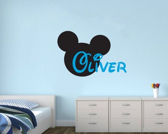 Personalized Name With Mickey Mouse Nursery Baby room wall decal kids children available in 5 different sizes and 30 different colors 012