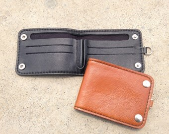Handmade Leather Wallet with 2 Buttons