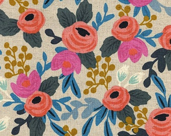 Cotton + Steel - Rifle Paper Co. Les Fleurs- Rosa Floral in Natural Canvas- Linen - Anna Bond