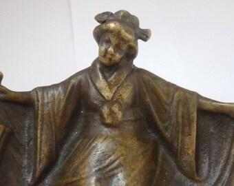 Art nouveau french bronze calling tray Japanese girl/geisha erotic
