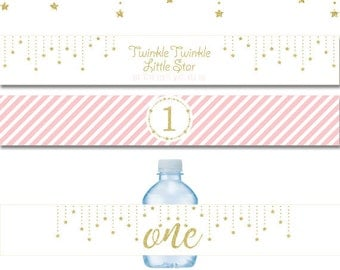 Twinkle Twinkle Little Star Water Bottle Labels,Pink and gold color twinkle little star party,printable water bottle labels,instant download