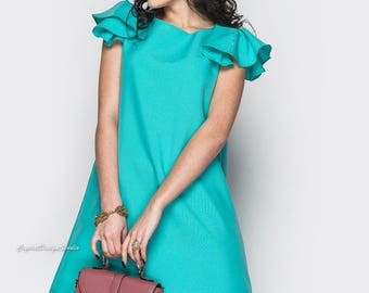 More colors! Turquoise dress casual wear Midi dress short sleeve Spring knee-length dress Red dress Casual women's dress Cocktail Dress