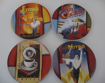 Sakura Down Town Art Deco Plates - Set of 4