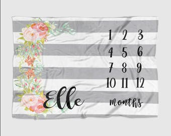 Baby Month Milestone Blanket- Striped Grey Floral -30 X 40 Personalized Baby Blanket Track Growth and Age oddler New Mom Baby Shower Gifts