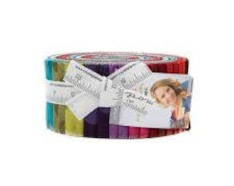 Grunge Hits the Spot Jelly Roll by Basic Grey for Moda Blue Pink Purple Green Orange Yellow