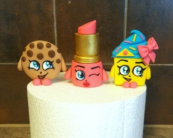 Shopkins Cake Or Cupcake Topper Set (Lippy Lips, Cupcake Queen, and Kooky Cookie)