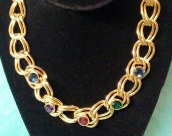 Vintage Les Bernard Inc. Double Link Gold Tone Necklace With Gemstones