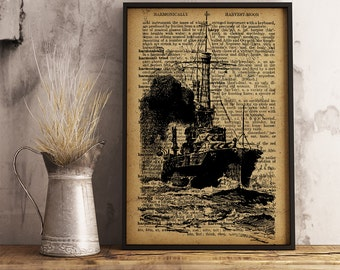 Ship Poster, Ship Dictionary Art Print, Nautical print Vintage Ship art, Ship drawing Office Decor, Gift for sailor, Ship wall art (K07)