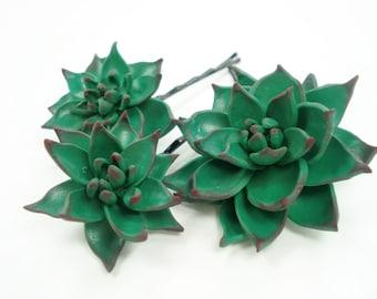 3 Succulent Wedding Hair Pins Bridal Accessory, Rustic Bride Bobby Hair Pins Clips, Green Succulent Hair Piece Wedding, Flower Girl