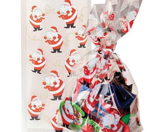 Pack of 20 TWINKLE SANTA Christmas Cellophane Bags - Perfect for Homemade Christmas Gifts