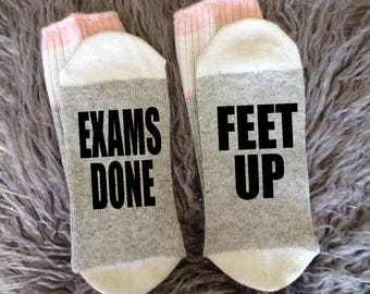 Student Socks - School's Out - It's Summer Time - Summer Socks - Exams Done - Feet Up Socks