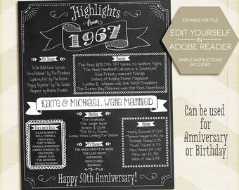 Custom 50th Anniversary Sign, 50th Birthday Poster, 1967, Instant Download, 50th gift, 8x10, 11x14, 16x20 edit yourself, Digital Printable