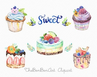 watercolor clipart. watercolor cake. Bakery Clipart. cupcake clipart. Wedding Cakes Clipart . birthday cake clipart. Valentine Cake Clipart