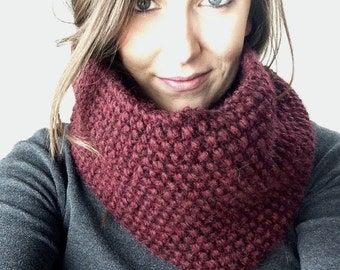 Knit Cambridge Cowl, Maroon, Knit Infinity Cowl, Knit Scarf, Knit Cowl, Knit Infinity Scarf, Chunky Knit Scarf, Maroon Knit Cowl, 701 Knits