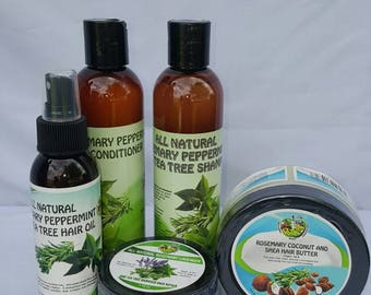 All Natural Hair oil, Damaged Hair repair, Rosemary Coconut Shea Hair Butter, Rosemary Peppermint and Tea Tree Shampoo and Conditioner set.