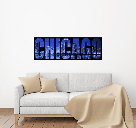 Chicago skyline windy city panoramic wall decal sticker for Good look chicago skyline wall decal