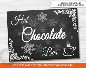 Hot Chocolate Bar, Hot Cocoa Party, Sign, Baby shower, Bridal Shower, Winter Onederland Party Table Decoration, INSTANT DOWNLOAD