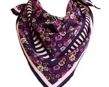 PANSY MOTH Silk Scarf in Purple - Floral Print Goth Boho Folk Festival Flowers Unusual Luxury Designer Fashion Accessory Neckerchief Shawl
