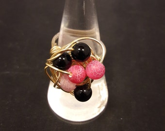 Pink and black agate wirework ring