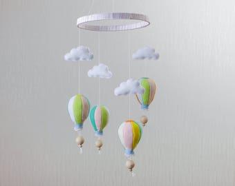 Hot Air Balloon Mobile Baby Girl Nursery Decor Baby Shower Gift Baby Mobile Crib Mobile Baby Girl Gift Nursery Mobile Baby Mobiles Hanging