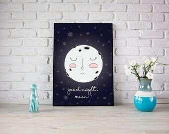 Good Night, Moon! Cute Moon and Stars Sweet Dreams Kids Room Wall Art Nursery Print