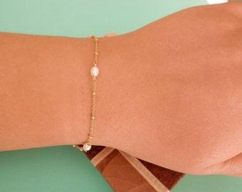 bridesmaid gift dainty pearl bracelet bridesmaid bracelet rose gold bracelet wedding bracelet gold rosary bracelet pearl rosary bracelet