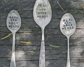 Real men grow herbs // Upcycled cutlery garden sign // Herb garden marker // Stamped cutlery // Vintage silver spoons forks // Garden lover