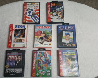 Sega Genesis Video Game Lot  Bundle of 8 Carts! Complete! Taz Escape from mars, Fun 'n' Games, Monopoly, Sports! Sega Game Cartridges!