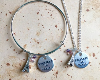 Together in Paris - Hand Stamped Bangle or Charm Necklace