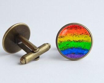Rainbow cufflinks Gay Pride cufflinks Colorful cuff links Gay Pride jewelry Rainbow jewelry LGBT cufflinks Rainbow gift Rainbow accessories