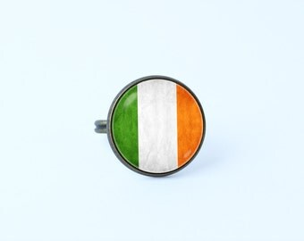 Irish jewellery Flag of Ireland Irish flag ring Patriotic ring Flag ring Women ring Flags jewelry Ireland Green White Orange Gift idea Irish