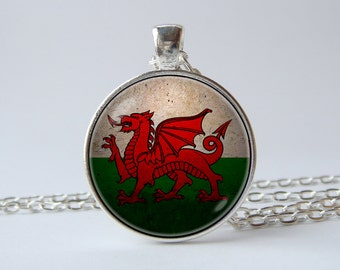 Welsh Dragon necklace Patriotic jewellery Flag pendant Flag of Wales jewelry National symbolic Welsh pendant Welsh jewelry Welsh flag gift