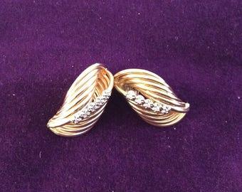 14k yellow gold earrings with diamonds #175