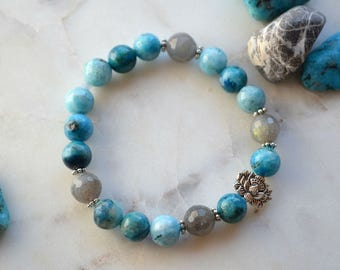 SILENCE bracelet - Made of Hemimorphite & Labradorite stones