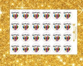 24 Glossy Thank You Rodan and Fields Heart Stickers | Mini Facials