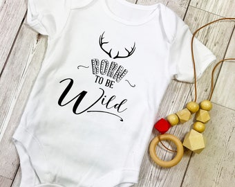 Born to be Wild Baby Grow Vest Onesie with Wooden Teething Necklace Gift Set