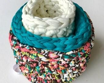 Hand knitted storage baskets