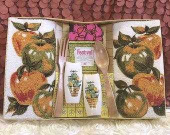 apple kitchen decor. apple kitchen decor, vintage gift set, barth and dreyfus, kitchen, retro, decor