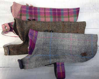 Harris tweed dog coat made to measure  waterproofed  and fleece lined Made to Order