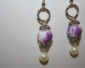 French Earrings Vintage Inspired Claire Fraser Lavender Love Handmade Swirl White Pearl Glass Beads