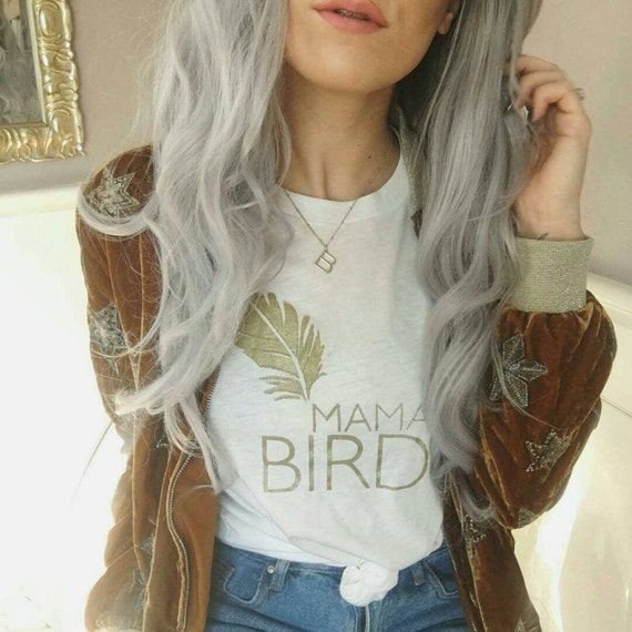 MAMA BIRD Gold Ink, Mama Bird Tee, Mama Bird, Mama Bird Tshirt, Mama Bird Top, Mama Birds, Mom Tee, Gold Ink