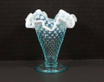 ON SALE! Petite Fenton Art Glass Blue Opalescent Hobnail Ruffled Trumpet Flower Vase.