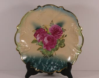 Vintage Two Handled Embossed Roses Floral Plate