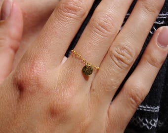 Fine chain ring 14 k gold