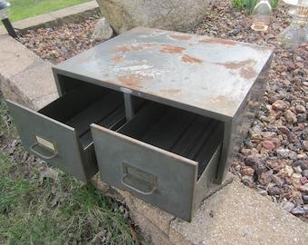 small 2 drawer metal file cabinet, vintage office file box, vintage industrial storage box, rustic metal storage box