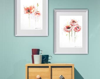 Sets of Poppies, Watercolor Poppies, Red Paintings, Set of 2 Watercolors, Abstract Flowers Set, Floral Paintings, Minimalist Artworks