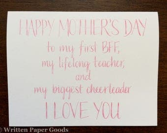 Mother's Day Card for Your BFF - Pink Watercolor Hand Lettering - Best Mom Ever - Your Best Friend